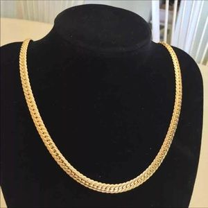"24"" new unisex 18K gold necklace"